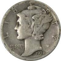 1938 D 10c Mercury Silver Dime US Coin VG Very Good