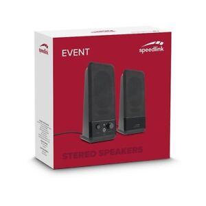 SPEEDLINK EVENT BLACK MULTIMEDIA STEREO SPEAKERS USB LAPTOP DESKTOP PC COMPUTER