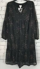Isabel Maternity Flowy Dress XS Black Sheer Sleeves Flounce Hem Star Print Lined