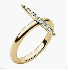 MICHAEL KORS BRILLIANCE MATCHSTICK GOLD TONE RING W PAVE CRYSTAL Size 7