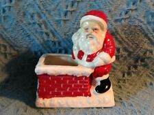 NOS SANTA ON ROOF WITH TOY BAG VOTIVE CANDLE HOLDER / CANDY DISH