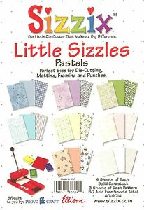Sizzix, Border Punches & Matting Papers (Pastels) 6.5'' x 4.5'' Inch NEW 40-0014