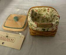 2003 Longaberger Dresden Basket Combo Lid Floral Liner Plastic Protector Signed
