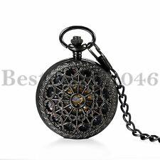Mens Steampunk Skeleton Mechanical Pocket Watch Retro Chain Roman Numerals Black