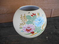"Vintage Flower Planter Pot apx 5"" dia. Painted Pottery Kitsch Flea Mkt Farmhouse"