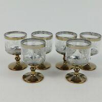 6 Cordial 1 Oz. Stemmed Shot Glasses Vintage Cut Design