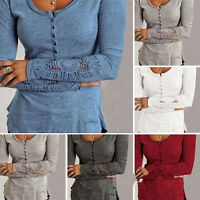 Plus Size Women Long Sleeve Loose Slim Bodycon ouse Lace Casual Tops T-shirt