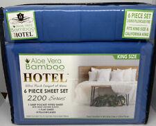Hotel Brand Bamboo Aloe Vera King/Cal King Sheet Set 6 Pc Deep Pockets Blue Soft
