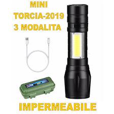 MINI TORCIA TATTICA MILITARE LED LUMENS XENON RICARICABILE IMPERMEABILE