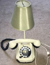 Vintage Monophone Rotary Telephone Lamp cream White Green Shade Automatic Electr