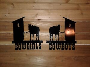 """10"""" TALL COWBOY AND COWGIRL RESTROOM  wall SIGNS -Hand Made in Waco Texas."""