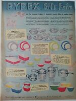1955 Pyrex Ware primary colors kitchen mixing bowls refrigerator dishes plus ad