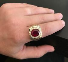 3.00Ct Oval Cut Red Ruby Solitaire Men's Anniversary Ring 14K Yellow Gold Finish
