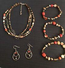 Silpada Sponge Coral Necklace Earrings 3 Bracelets Set  N1563 Retired