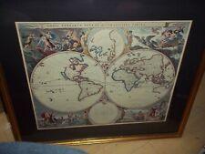 "29""X26"" FRAMED MATED NICOLAO VISSCHER ORBIS TERRARUM DOUBLE HEMISPHERE WORLD MAP"