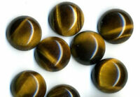 5 PIECES OF 6mm ROUND CABOCHON-CUT NATURAL AFRICAN GOLDEN TIGERS EYE GEMSTONES