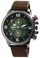 Excellanc Herrenuhr Grün Braun Chrono-Look Kunst-Leder Armbanduhr X2900159001