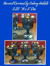 Set of 6 Harvest Carnival by Colony - Blue Iridescent Goblets
