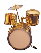 1:12th Scale Gold Coloured Drum Set - Kit Dolls House Miniature Instrument 548