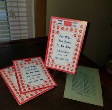 (4) Vintage Pay What you push and Win Unused Unpunched Punch Card USA