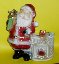 """Santa Candle & Fireplace Holder-tealite / votive-over 6"""" tall-perfect condition"""