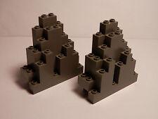 LEGOS  -  Set of  2  Triangular Castle Rock Panels  ( Jagged Wall )  DARK GRAY