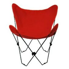 Butterfly Chair & Cover Combination w/Black Frame Red Cotton Duck Fabric Chair