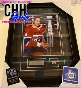 JEAN BELIVEAU #4 Montreal Canadiens REPRINT Signed Frame Cadre Stanley Cup Auto