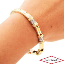 Estate Diamond 14K Yellow Gold Bangle Bracelet 22.7 Grams NR
