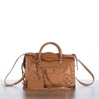 BALENCIAGA 2190$ Classic City S Tote Bag In Camel Brown Leather