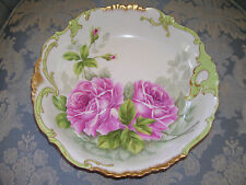 "Large Limoges, Ornate Bowl; Hand Painted Pink Roses; ""Lajudie"""