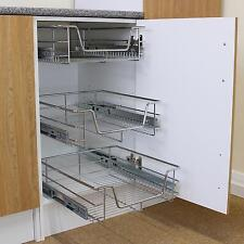 2 Slide Out Kitchen Storage Wire Baskets Pull Out Drawer Larder Cupboard 50cm