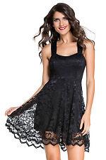 Black Dress Lace Lolita Goth Cocktail Vintage Sundress Cutout Large 21878
