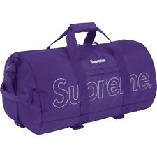 NWT Supreme NY Purple Metallic Big Box Logo Quilted Duffle Bag FW18 DS AUTHENTIC