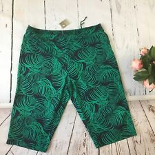 Anthology green leaves summer trousers culottes plus size 26 linen blend elastic