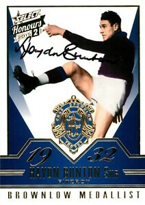 ✺Signed✺ 2015 FITZROY LIONS AFL Card HAYDN BUNTON Brownlow Medallist Brisbane