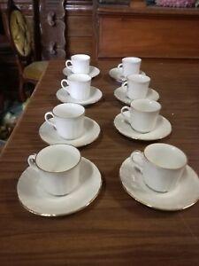 Richard Ginori Coffee Service for Coffee' Ceramics Decoration Gold x 8 Saucer