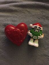 M&M Green Candy Figurine Container And Red Heart Shaped Box