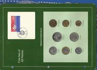 Coin Sets of All Nations France 1978-1990 UNC 10,5 Francs 1990 1 Franc 1978
