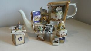 Paul Cardew Lilliput Lane Teapot Limited Edition with Tea Caddy - very rare