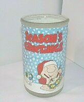 "Ziggy Christmas Vtg 80s Candle Jar Holder SEASONS GREETINGS 5"" Frosted Glass AGC"