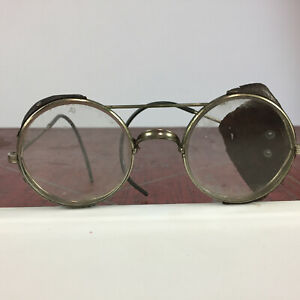Vintage Antique Round Circle Leather Safety Glasses Goggles Steam Punk AO Glass