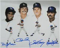 Reggie Smith Ron Cey Dusty Baker Steve Garvey Autograph 8x10 Photo Dodgers 30HR