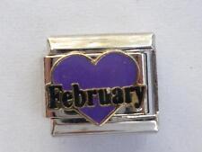 PURPLE FEBRUARY HEART  SILVER ITALIAN CHARM FITS all Italian bracelets X17