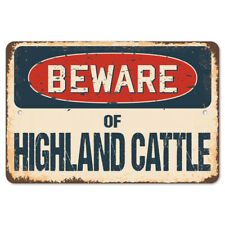 Beware Of Highland Cattle Rustic Sign SignMission Classic Plaque Decoration