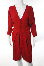 Martin Grant Red Silk Long Sleeve V-Neck Pleated Pencil Dress Size Large