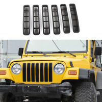 7Pcs Front Mesh Grille Inserts Grill Trims For Jeep Wrangler TJ 1997-2006 Black~