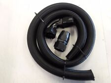 BLACK -20AN Black Braided Radiator Hose Kit -20 Straight -20 90 Degree Hose Ends