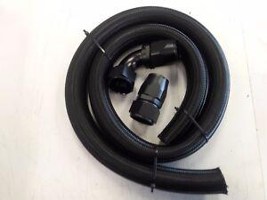 BLACK -20AN Black Braided Radiator Hose Kit -20 Straight -20 90 Degree Hose Ends