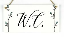 W.C. - Handmade Shabby Chic Wood Door Sign / Plaque For WC Toilet or Cloakroom